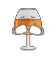 crying cognac ballon glass mascot cartoon vector image vector image