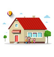 family house flat design building with trees vector image vector image