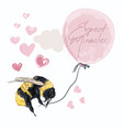 fashion conceptual with bumblebee with pink baloon vector image