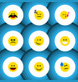 flat icon gesture set of grin asleep tears and vector image vector image