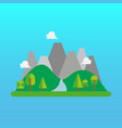 forest and mountain landscape in flat style vector image vector image