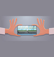 hand holding smartphone taking picture organic vector image