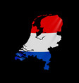 hanging netherlands flag in form map vector image vector image