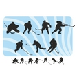 hockey silhouettes set vector image