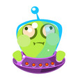 inflated green alien in a flying saucer cute vector image