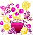 Ink hand drawn cup of raspberry tea with lemon vector image vector image