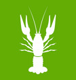 lobster icon green vector image vector image