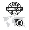 made in germany stamp world map with zoom on vector image vector image
