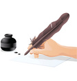 Man writing with quill vector image vector image