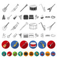 musical instrument flat icons in set collection vector image