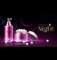 night cosmetics product realistic ad banner vector image