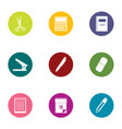 school curriculum icons set flat style vector image