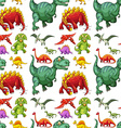 Seamless different kind of dinosaurs vector image vector image