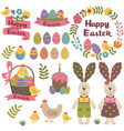 set isolated happy easter design elements vector image vector image