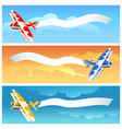 set of airplane with blank banner vector image vector image