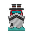 Ship on water frontview icon image vector image