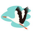 stork bird flying vector image vector image
