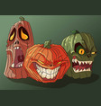 three carved scary pumpkins for halloween vector image vector image