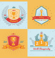 trophy awards 4 emblems set vector image vector image