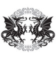two winged heraldic dragon and victorian pattern vector image vector image