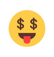 yellow smiling cartoon face show tongue money rich vector image vector image