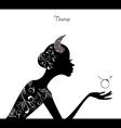 Zodiac sign taurus fashion girl vector image vector image
