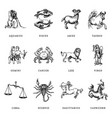 zodiac symbols set hand drawn in engraving style vector image