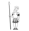 Ancient warrior pikeman BW vector image vector image