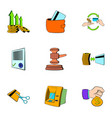 auction icons set cartoon style vector image vector image