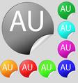 australia sign icon Set of eight multi colored vector image vector image