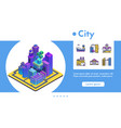 banner isometric futuristic city line icon vector image