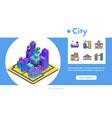 banner isometric futuristic city line icon vector image