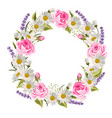 beautiful floral wreath with roses lavenders and vector image vector image