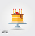 birthday cake on stand flat icon with shadow vector image vector image