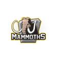 cartoon emblem of mammoth vector image vector image