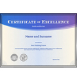 Certificate of Excellence template blue vector image vector image
