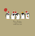 christmas card with funny penguins vector image