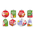 christmas sale tags flat christmas special vector image vector image