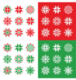 Christmas winter red and green snowflakes vector image vector image