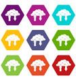 clouds with arrows icon set color hexahedron vector image vector image