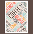 coffee words poster vector image