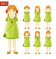 collection of cute ginger little girls with vector image vector image