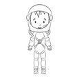 coloring book cosmonaut cartoon character vector image