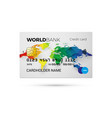 credit card with color world map vector image
