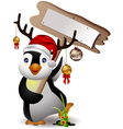 cute penguin christmas cartoon with blank board vector image vector image