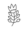 decorative nature ornament flower icon thick line vector image vector image