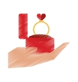 drawing hand hold engagement box with ring vector image vector image