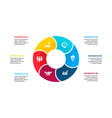 flat circle element for infographic with 6 vector image vector image