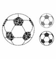 football ball mosaic icon raggy elements vector image vector image