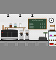 front of cafeteria counter vector image